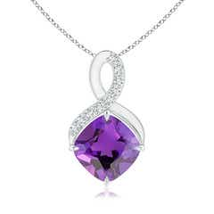 Claw-Set Amethyst Infinity Pendant with Diamonds