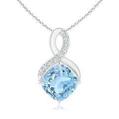Solitaire Claw Cushion Aquamarine Infinity Symbol Pendant with Diamonds