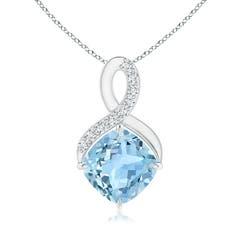 Claw-Set Aquamarine Infinity Pendant with Diamonds