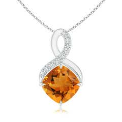 Claw-Set Citrine Infinity Pendant with Diamonds
