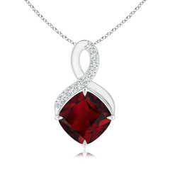 Claw-Set Garnet Infinity Pendant with Diamonds