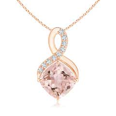 Claw-Set Morganite Infinity Pendant with Diamonds