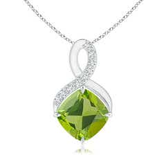 Claw-Set Peridot Infinity Pendant with Diamonds