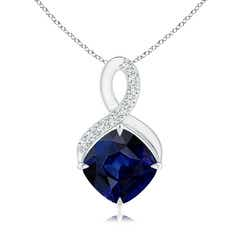 Claw-Set Sapphire Infinity Pendant with Diamonds