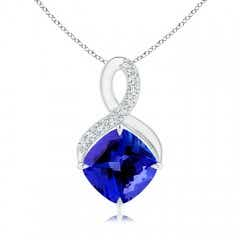 Claw-Set Tanzanite Infinity Pendant with Diamonds