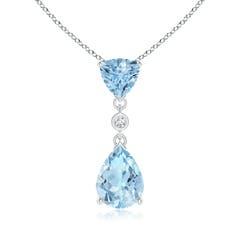 Angara Claw-Set Aquamarine Fleur De Lis Pendant mkQNAy
