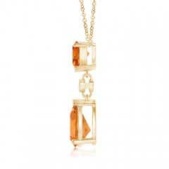 Toggle Trillion and Pear Citrine Drop Pendant with Diamond