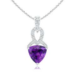 Trillion Amethyst Dangle Pendant with Diamond Accents