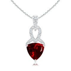 Trillion Garnet Dangle Pendant with Diamond Accents