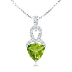 Solitaire Trillion Peridot Dangle Pendant with Diamond Accents