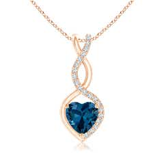 London Blue Topaz Infinity Twist Pendant with Diamonds
