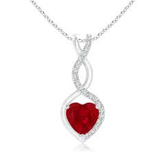 Floating Ruby Infinity Heart Pendant with Diamond Accents