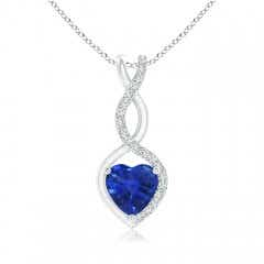 Floating Sapphire Infinity Heart Pendant with Diamond Accents