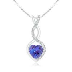 Floating Tanzanite Infinity Heart Pendant with Diamond Accents