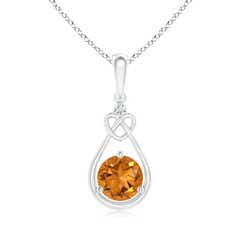 Floating Drop Citrine Knotted Heart Necklace with Diamond