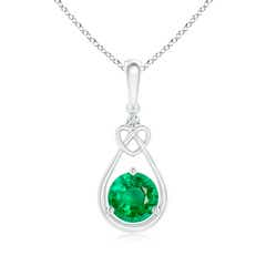 Floating Drop Emerald Knotted Heart Necklace with Diamond
