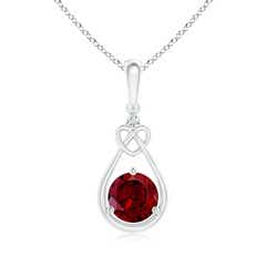 Floating Drop Garnet Knotted Heart Necklace with Diamond