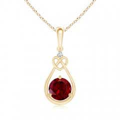 Garnet Knotted Heart Pendant with Diamond