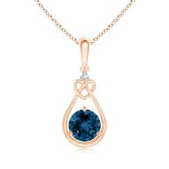 Floating London Blue Topaz Knotted Heart Pendant