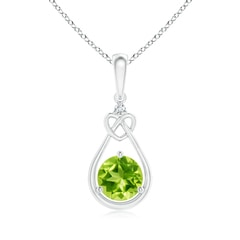 Floating Drop Peridot Knotted Heart Necklace with Diamond