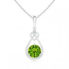 Peridot Knotted Heart Pendant with Diamond