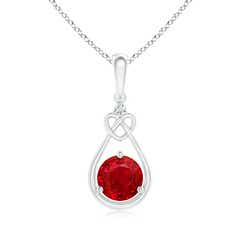 Ruby Knotted Heart Pendant with Diamond