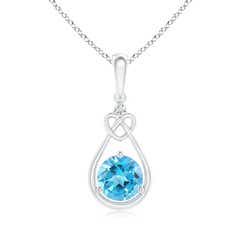 Floating Swiss Blue Topaz Knotted Heart Necklace with Diamond