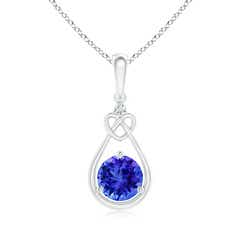 Floating Drop Tanzanite Knotted Heart Necklace with Diamond