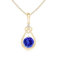 Tanzanite Knotted Heart Pendant with Diamond
