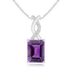 Amethyst Pendant with Diamond Entwined Bale