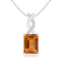 Citrine Pendant with Diamond Entwined Bale
