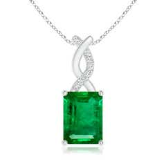 Emerald Pendant with Diamond Entwined Bale