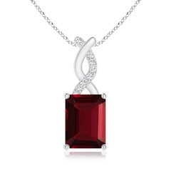 Emerald Cut Garnet Solitaire Pendant with Diamond Entwined Bale