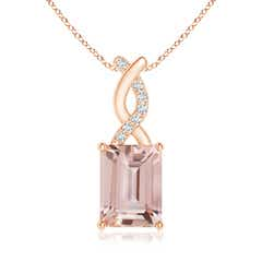 Morganite Pendant with Diamond Entwined Bale