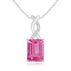 Pink Sapphire Pendant with Diamond Entwined Bale