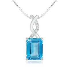 Swiss Blue Topaz Pendant with Diamond Entwined Bale