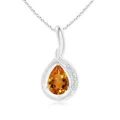 Pear Citrine Solitaire Pendant with Diamond Accents