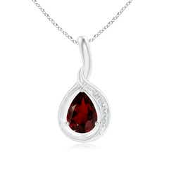 Pear-Shaped Garnet and Diamond Loop Pendant