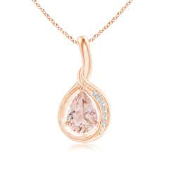 Pear Morganite Solitaire Pendant with Diamond Accents