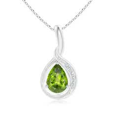 Pear Peridot Solitaire Pendant with Diamond Accents