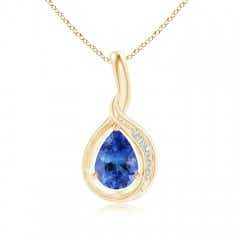 Pear-Shaped Tanzanite and Diamond Loop Pendant