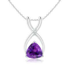 Trillion Amethyst Wishbone Pendant with Diamond