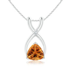 V-Prong Trillion Citrine and Diamond Wishbone Pendant