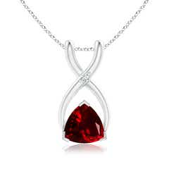 Trillion Garnet Wishbone Pendant with Diamond