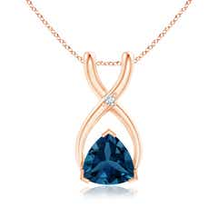 Trillion London Blue Topaz Wishbone Pendant with Diamond