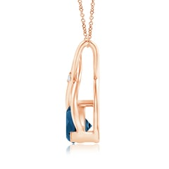 Toggle Trillion London Blue Topaz Wishbone Pendant with Diamond