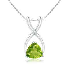 V-Prong Trillion Peridot and Diamond Wishbone Pendant