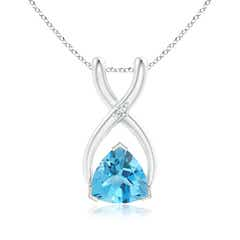Trillion Swiss Blue Topaz Wishbone Pendant with Diamond