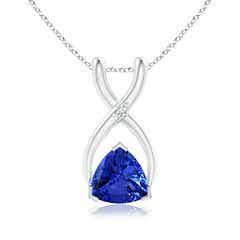 Trillion Tanzanite Wishbone Pendant with Diamond