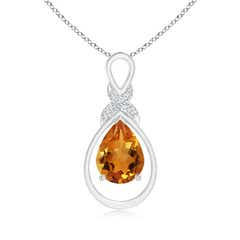 Drop Shaped Citrine Infinity Loop Pendant with Diamond X-Motif